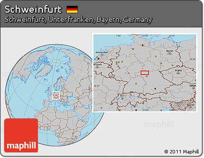 Free Gray Location Map Of Schweinfurt