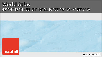 """Physical Panoramic Map of the Area around 50°7'47""""N,10°7'30""""W"""
