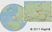Savanna Style Location Map of Žlutice, hill shading