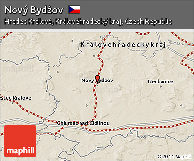 Novy Bydzov Map Shaded Relief 3d Map of Nov