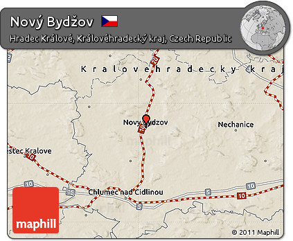 Novy Bydzov Map Relief Map of Nov Byd ov
