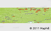 """Physical Panoramic Map of the area around 50°7'47""""N,18°46'29""""E"""