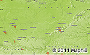 "Physical Map of the area around 50° 7' 47"" N, 25° 34' 30"" E"