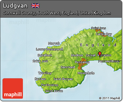 Map Of Just England.Free Physical Map Of Ludgvan