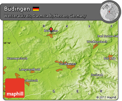 Budingen Germany Map.Free Physical Map Of Budingen