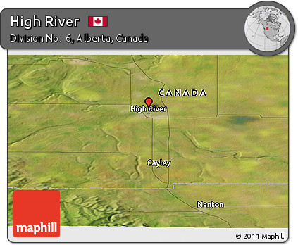 High River Alberta Canada Map.Free Satellite Panoramic Map Of High River