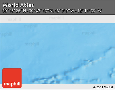 """Shaded Relief 3D Map of the Area around 50°31'50""""N,12°40'30""""W"""