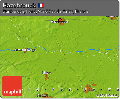 Physical Map of Hazebrouck