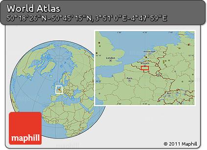 "Savanna Style Location Map of the Area around 50°31'50""N,4°19'30""E"