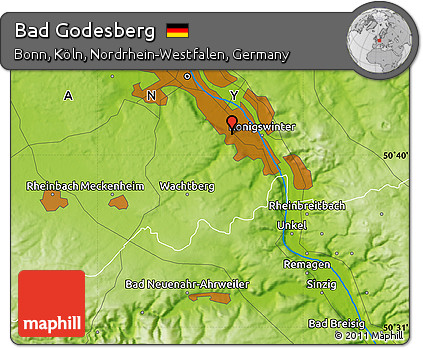 Free Physical Map of Bad Godesberg