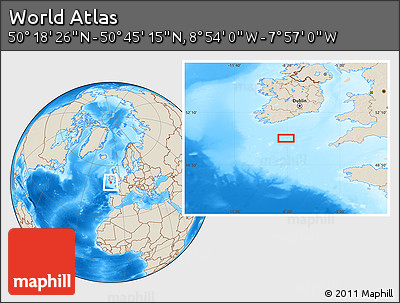 """Shaded Relief Location Map of the Area around 50°31'50""""N,8°25'30""""W"""