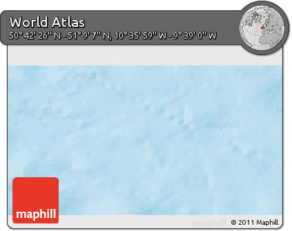 """Shaded Relief 3D Map of the Area around 50°55'47""""N,10°7'30""""W"""