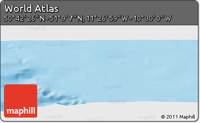 """Physical Panoramic Map of the Area around 50°55'47""""N,10°58'29""""W"""