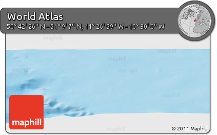 """Shaded Relief Panoramic Map of the Area around 50°55'47""""N,10°58'29""""W"""