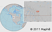 """Gray Location Map of the area around 50°55'47""""N,114°40'30""""W, hill shading"""
