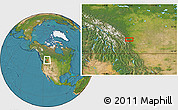 """Satellite Location Map of the area around 50°55'47""""N,114°40'30""""W"""