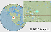 """Savanna Style Location Map of the area around 50°55'47""""N,114°40'30""""W, hill shading"""