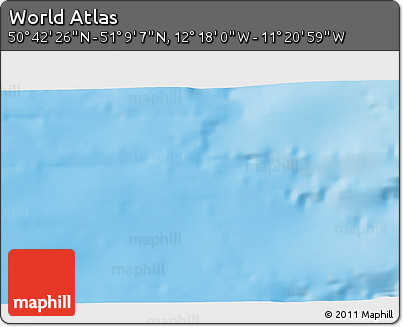 """Physical 3D Map of the Area around 50°55'47""""N,11°49'29""""W"""