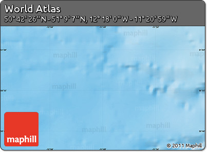 """Shaded Relief Map of the Area around 50°55'47""""N,11°49'29""""W"""