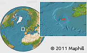 """Satellite Location Map of the area around 50°55'47""""N,12°40'30""""W"""