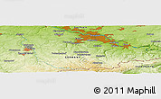 """Physical Panoramic Map of the area around 50°55'47""""N,13°40'30""""E"""