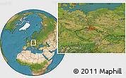 Satellite Location Map of Tanvald