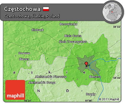 Free Political Map of Czstochowa