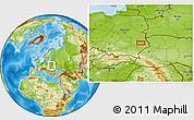 Physical Location Map of Ostrów Krupski
