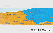 "Political Panoramic Map of the area around 50° 55' 47"" N, 2° 37' 30"" E"