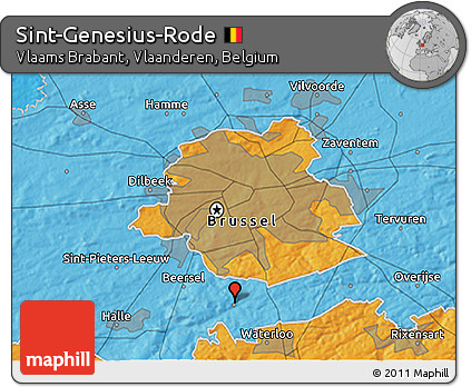 Political 3D Map of Sint-Genesius-Rode