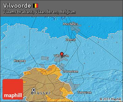 Political 3D Map of Vilvoorde