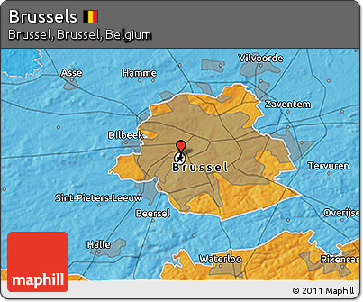 Political 3D Map of Brussels