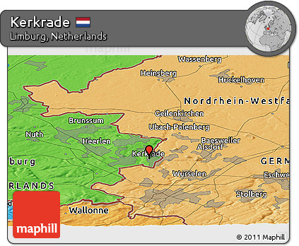 Free Political Panoramic Map of Kerkrade
