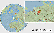 Savanna Style Location Map of Langenfeld, hill shading