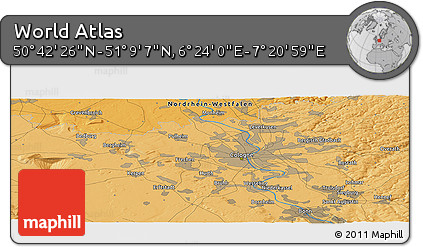 """Political Panoramic Map of the Area around 50°55'47""""N,6°52'30""""E"""