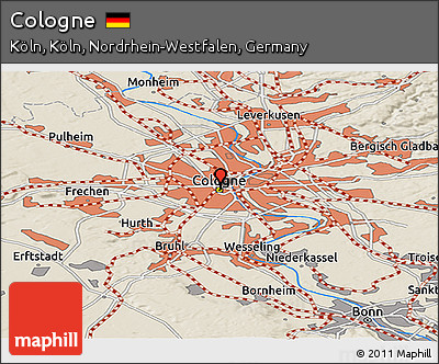 Free Shaded Relief Panoramic Map Of Cologne - Map of koln germany