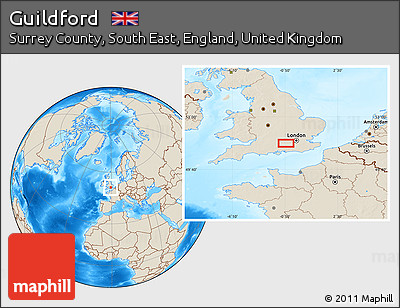 Guilford England Map.Free Shaded Relief Location Map Of Guildford