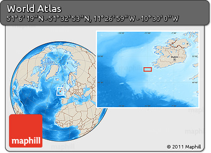 """Shaded Relief Location Map of the Area around 51°19'36""""N,10°58'29""""W"""