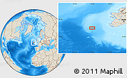 """Shaded Relief Location Map of the area around 51°19'36""""N,13°31'30""""W"""