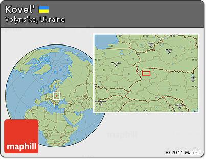 Free Savanna Style Location Map of Kovel