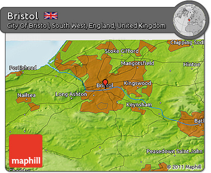 Bristol On The Map Of England.Free Physical 3d Map Of Bristol