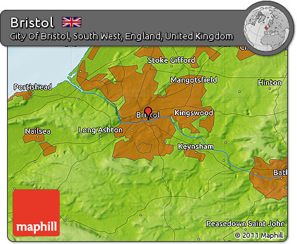 Map Of Bristol England.Free Physical Map Of Bristol