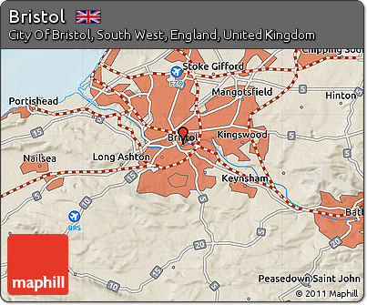 Map Of Bristol England.Free Shaded Relief Map Of Bristol