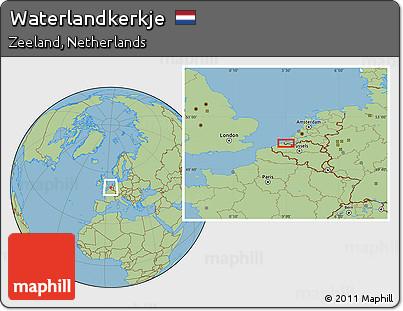 Free Savanna Style Location Map of Waterlandkerkje