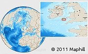 """Shaded Relief Location Map of the area around 51°19'36""""N,5°52'30""""W"""