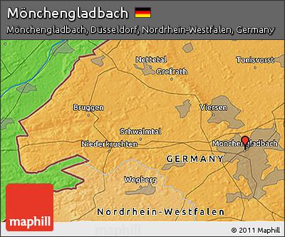Political 3D Map of Mönchengladbach