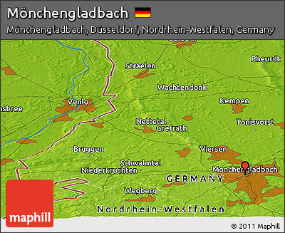 Physical Panoramic Map of Mönchengladbach