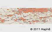 Shaded Relief Panoramic Map of Bottrop