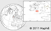 """Blank Location Map of the area around 51°19'36""""N,6°43'29""""W"""