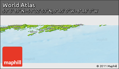 """Physical Panoramic Map of the Area around 51°19'36""""N,9°16'30""""W"""